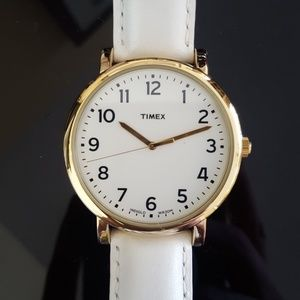 Large face white Timex watch
